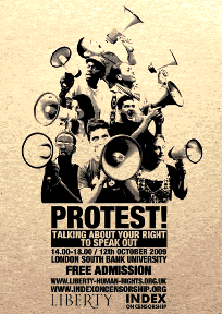 Protest poster, via Index on Censorship