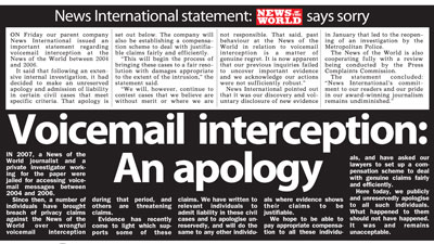 News of the World voicemail apology cover