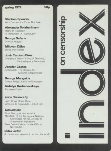 The first issue of Index on Censorship Magazine, 1972