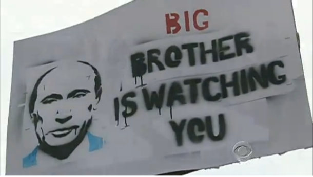 Russian protesters waved this banner during December 2011 protests. (Credit: CBS News video. Screenshot by CNET's Jonathan Skillings).