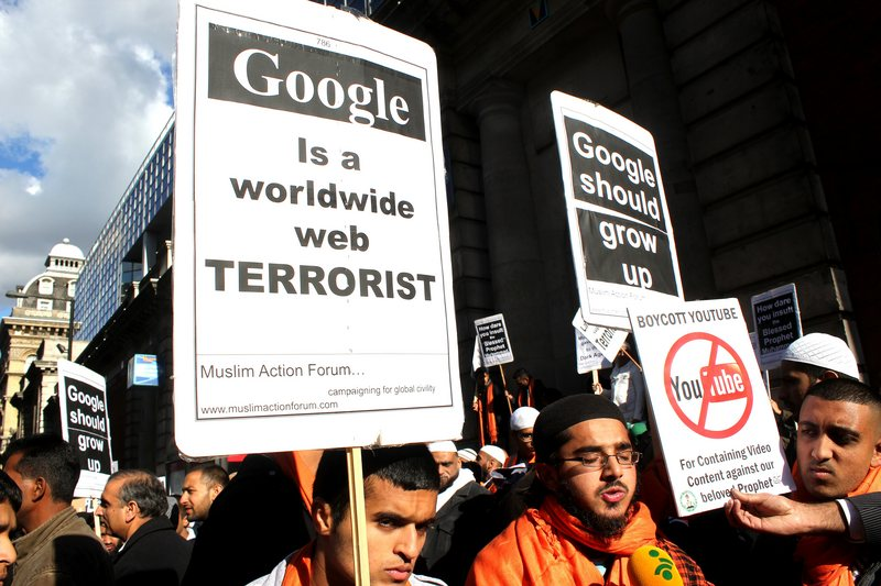 Muslims demonstate outside Google's London HQ
