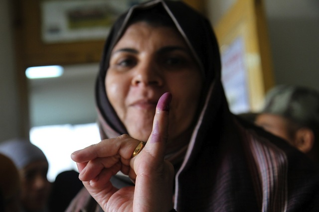 15 December: An Egyptian woman votes on the new constitution in Cairo. Sniperphoto Agency | Demotix