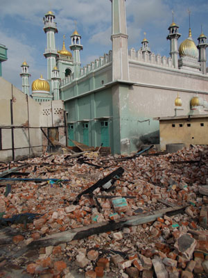 Twelve of the 13 mosques in Meiktila were damaged. (Photo: Tom Fawthrop for Index on Censorship)