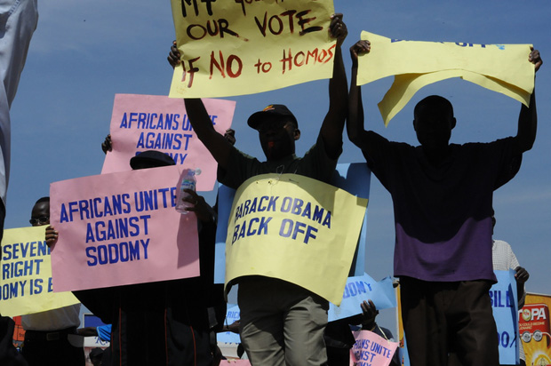 Hundreds of Ugandans took to the streets in support of the government's proposed anti-homosexuality bill in 2009 (Image: Edward Echwalu/Demotix)
