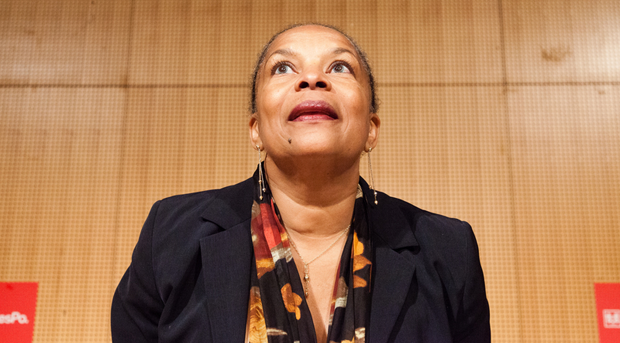 French Minister of Justice, Christiane Taubira makes a speech about penal reform in the lecture hall of the Political Science University in Paris. (Photo: Davide Del Giudice / Demotix)