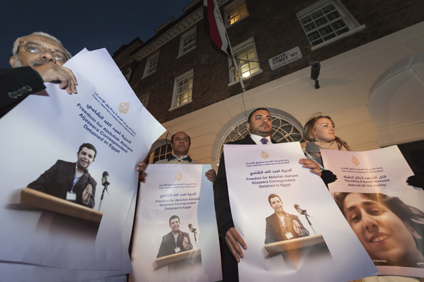 In November 2013, the National Union of Journalists (NUJ UK and Ireland), the International Federation of Journalists (IFJ) and the Aljazeera Media Network organised a show of solidarity for the journalists who have been detained, injured or killed in Egypt. (Photo: Lee Thomas / Demotix)