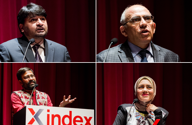 From upper left: Shahzad Ahmad, Rahim Haciyev, Shu Choudhary, Mayam Mahmoud. (Photos: Alex Brenner for Index on Censorship)