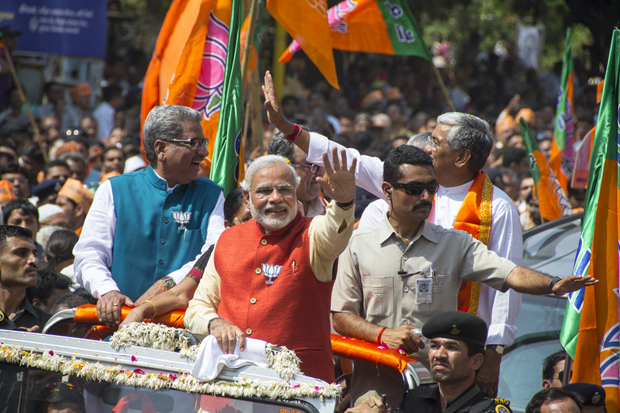Gujarat Chief Minister and BJP prime ministerial candidate Narendra Modi filed his nomination papers from Vadodara Lok Sabha seat amid tight security on April 6. (Photo: Nisarg Lakhmani / Demotix)