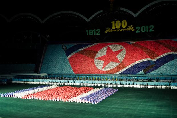 Gymnasts at Arirang festival in Pyongyang, North Korea (Image: Roman Kalyakin/Demotix)