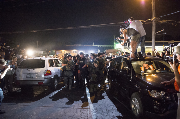 Journalists covering the protests in Ferguson, Missouri (Photo: Abe Van Dyke/Demotix)