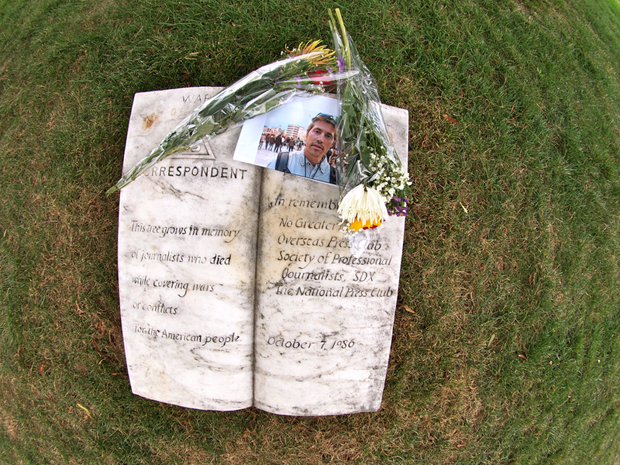 Tributes to James Foley were placed at base of tree dedicated as War Correspondents Memorial in Arlington National Cemetery (Photo: Cynthia Rucker/Demotix)