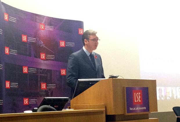 Serbian Prime Minister Aleksandar Vucic speaking at LSE (Photo: Milana Knezevic)
