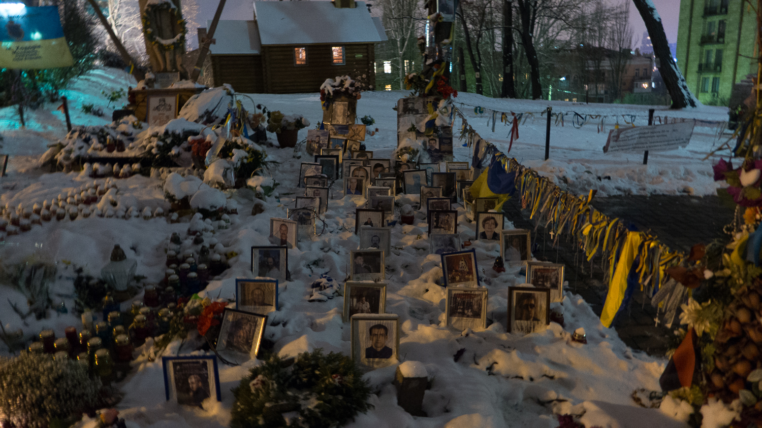A makeshift shrine remembers the Ukrainians killed during the protests in Maidan Square. (Photo: Sean Gallagher for Index on Censorship)
