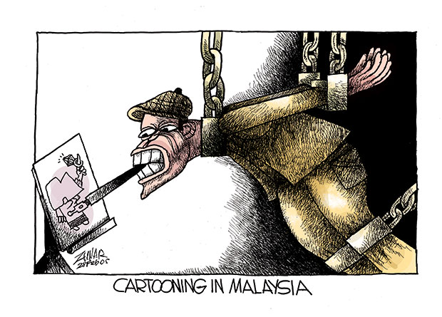Index on Censorship commissioned cartoonists to give their take on free expression in the past 12 months. Zunar submitted the above.