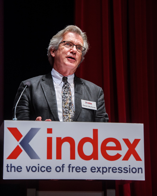 Index board member and director of Sage Publications presented the special award at the ceremony in London (Photo: Alex Brenner for Index on Censorship)