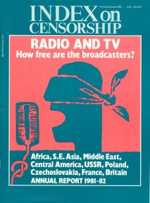 Radio and TV, the October 1982 issue of Index on Censorship magazine.