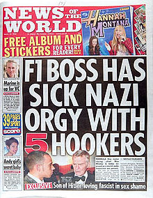 News of the World Max Mosley cover