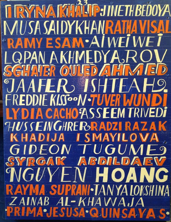 Artist Bob and Roberta Smith's painting to mark International Day to End Impunity