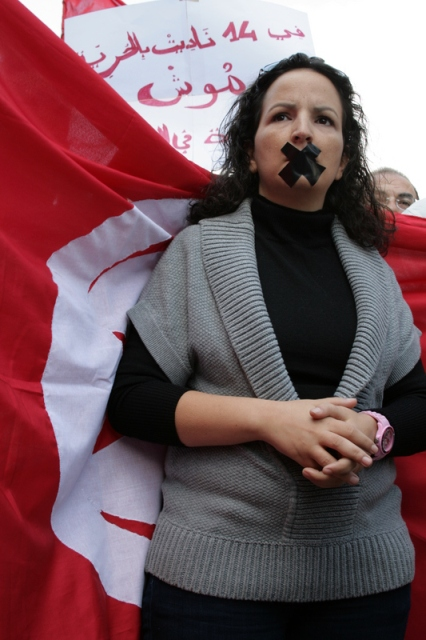 A woman protests against censorship, Tunis, October 2011. Wahida Sannene | Demotix