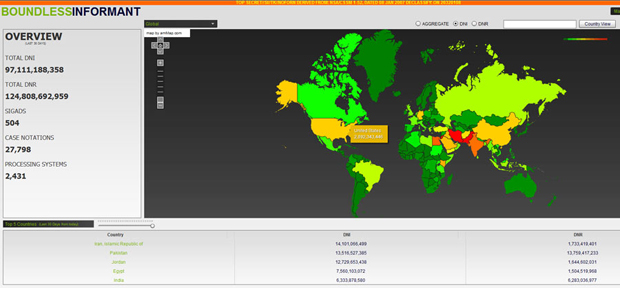 Snapshot of Boundless Information global heat map of data collection. The color scheme ranges from green (least subjected to surveillance) through yellow and orange to red (most surveillance). (NSA)