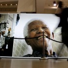 The City of Cape Town launched the Nelson Mandela Legacy Exhibition to honour his contribution to South Africa's democracy. The exhibiton is a collection of historic photographs and visuals capturing significant moments in Mandela's life. (Photo: Sumaya Hisham / Demotix)