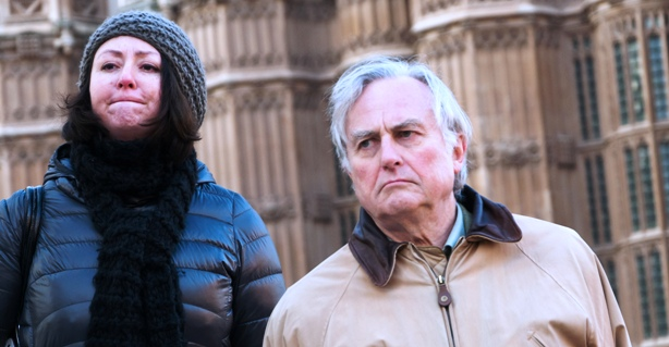 Richard Dawkins and ex-Muslim campaigner Maryam Namazie at a rally in support of free expression, London, February 2012. Image Demotix/Peter Marshall