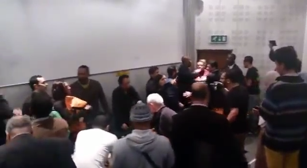 A video captured the protest that erupted when was due to speak at SOAS (Image: YouTube)