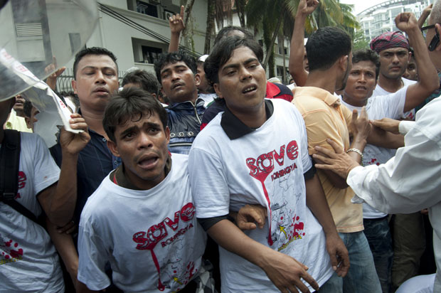 Rohingya Muslim refugees from Burma at a protest in Kuala Lumpur, Malaysia (Image: Khairil Safwan/Demotix)