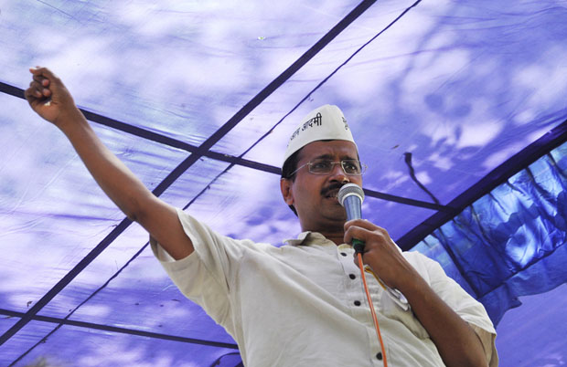 Arvind Kerjiwal, leader of the Aam Aadmi Party, made great use of social media in his successful campaign for x. Pictured addressing auto drivers in June last year (Image: Rohit Gautam/Demotix)