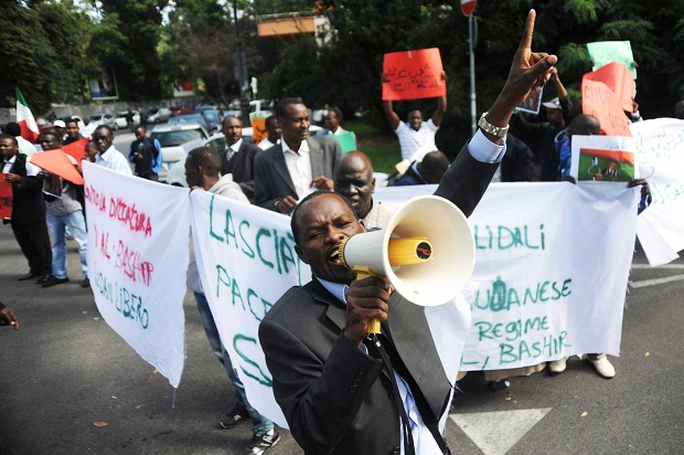 Dozens of protesters in front of the Sudanese Embassy in Rome October 2013 to protest of the alleged human rights abuses in Sudan (Image Marco Zeppetella/Demotix)