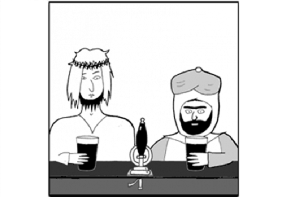 Members of the London School of Economics atheist society were told to cover up their t-shirts depicting the cartoon 'Jesus and Mo' during a freshers' fair. (Image: AuthorJ&M/Twitter)