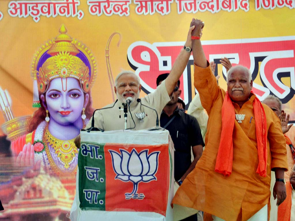 Modi invoked Lord Ram while addressing a meeting in Faizabad, barely six kilometres from Ayodhya. He shared the stage with the Faizabad candidate Lalu Singh who was issued a notice by the EC for displaying religious portraits.