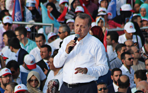 Former Turkish Prime Minister and current president Recep Tayyip Erdogan spoke to tens of thousands of supporters during a presidential campaign rally in Istanbul in early August. (Avni Kantan / Demotix)