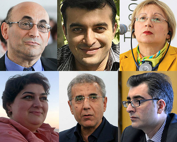 From top left: Arif Yunus, Rasul Jafarov, Leyla Yunus, Khadija Ismayilova, Intigam Aliyev and