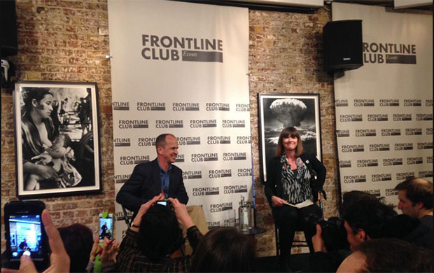 Peter Greste spoke to a Frontline Club audience about his arrest and detention in Egypt. (Photo: Milana Knezevic / Index on Censorship)