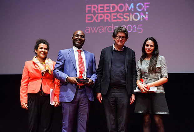 Journalist and campaigner Mariane Pearl, journalism award recipient Rafael Marques de Morais, Guardian editor Alan Rusbridger and journalism award recipient Safa Al Ahmad (Photo: Alex Brenner for Index on Censorship)
