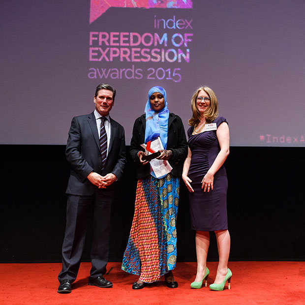 Doughty Street barrister Keir Starmer, campaigning award recipient Amran Abdundi and Index on Censorship CEO Jodie Ginsberg (Photo: Alex Brenner for Index on Censorship)