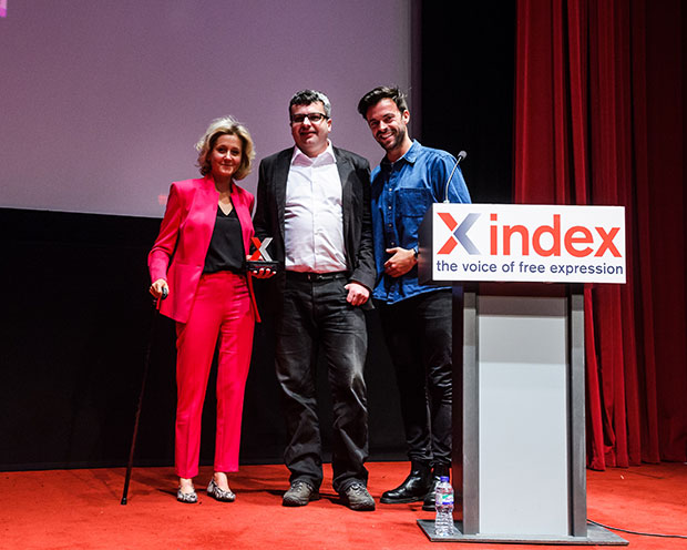 Martha Lane Fox, Tamas Bodoky and Jolyon Rubinstein (Photo: Alex Brenner for Index on Censorship)