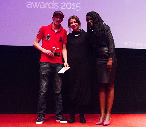"""Arts category winner Mouad """"El Haqed"""" Belghouat, novelist Elif Shafak and actor Stella Odunlami (Photo: Alex Brenner for Index on Censorship)"""