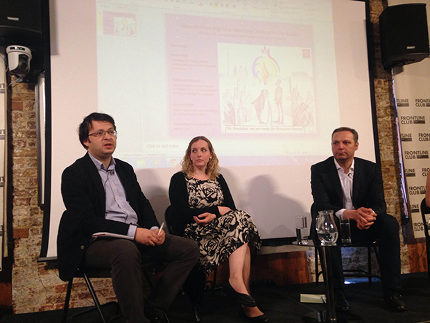 From left: Emin Milli, Rebecca Vincent and Georgi Gogia speaking at (Photo: Index on Censorship)