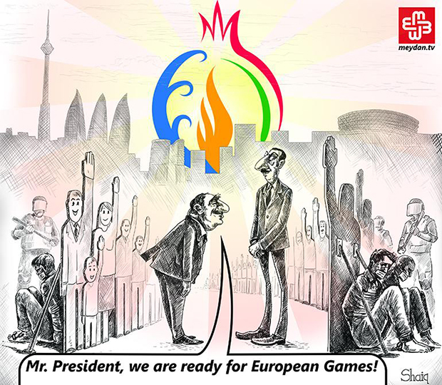 Editorial cartoon on the Baku European Games From Meydan TV (Image: Meydan TV)