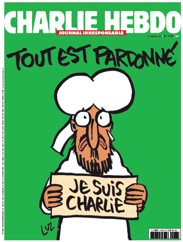 Tout est pardonne or All is forgiven, the first post attack cover of Charlie Hebdo