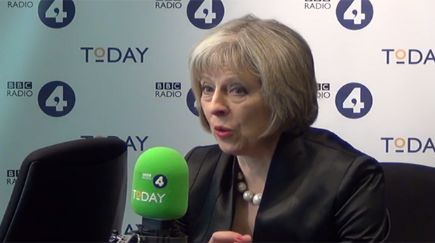 Home Secretary Theresa May appeared on BBC Radio 4 Today programme. View the video. (Photo: BBC)