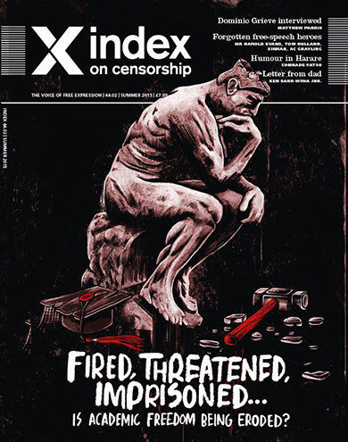 The summer 2015 issue of Index on Censorship magazine focusing on academic freedom will be available from 12 June.