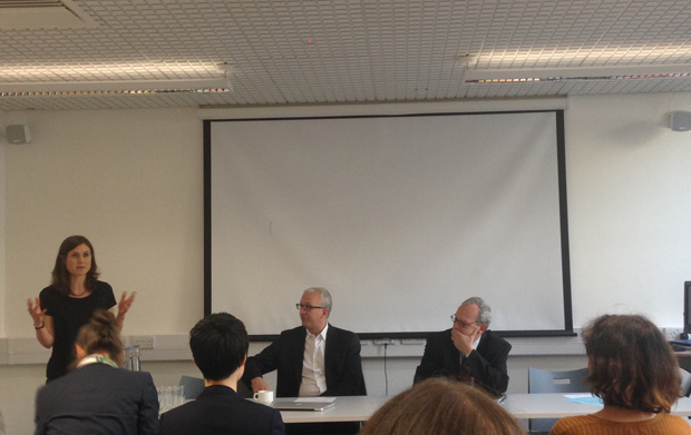 Frank La Rue (right) spoke at a (Photo: Max Goldblart for Index on Censorship)