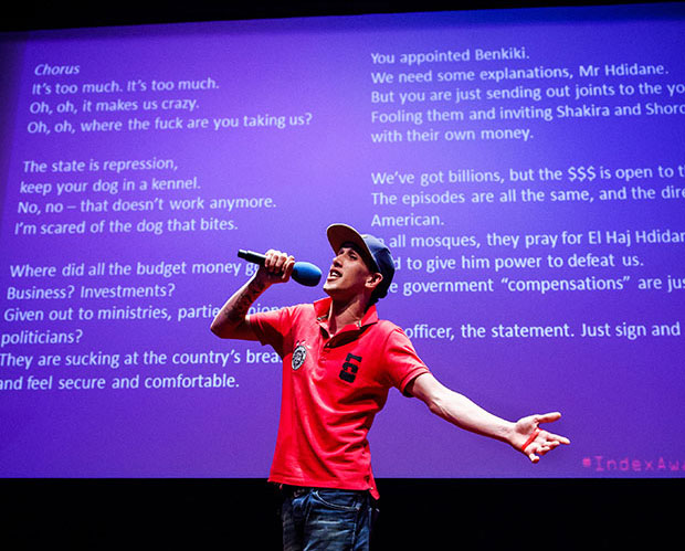 Moroccan rapper El Haqed, who was named the Index Arts award winner in March 2015, performed in London at The Barbican (Photo: Alex Brenner for Index on Censorship)