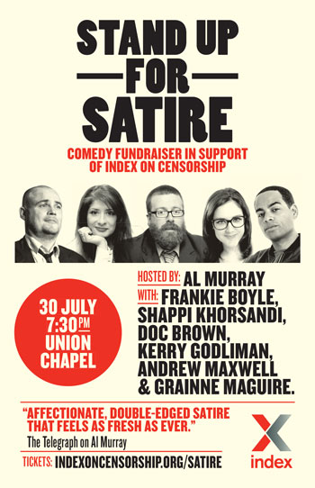 30 July: Stand Up For Satire in support of Index on Censorship