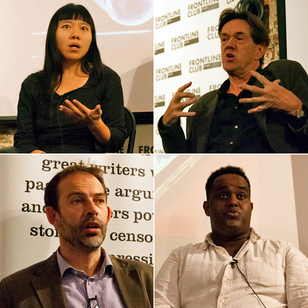 Xiaolu Guo is a fiction writer, filmmaker and political activist. Robert McCrum is an associate editor of The Observer. Stephen Grey is an investigative journalist and author. Ismail Einashe is a journalist and researcher. (Photo: Sean Gallagher / Index on Censorship)