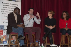 Kunle Olulode, Max Wind-Cowie, Jodie Ginsburg and Shazia Mirza at last nights debate (Photo: Sean Gallagher / Index on Censorship)