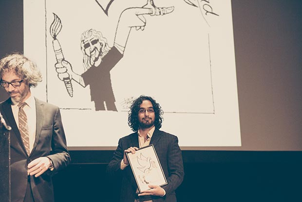 Pianist James Rhodes and 2016 Freedom of Expression Arts Award winner Murad Subay (Photo: Elina Kansikas for Index on Censorship)